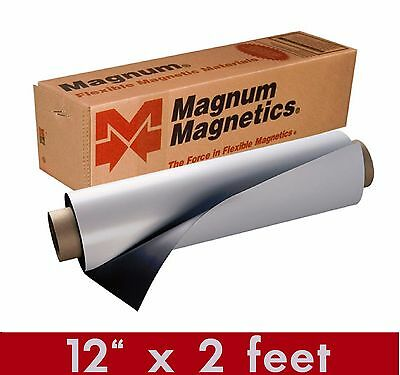 """(2) Magnum Mag 12"""" width x 2 Ft ROLL 30 Mil. Magnetic Sign Sheet Cars / Crafts"""
