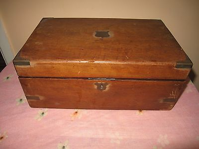 Antique Victorian Wooden Writing Box Slope with Brass Inlay and Inkwels
