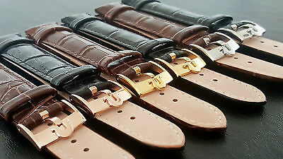 New Genuine Leather Black/Brown Watch Strap 18mm Omega S/S G/P R/G Buckle WZ-S25