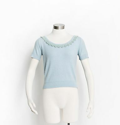 Vintage 60s Cashmere Sweater - Baby Blue Short Sleeve Fitted Embellished Top - S