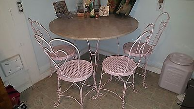 vintage antique ice cream parlor table and chairs  with marble top