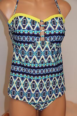 5d6d071744889 NWT JESSICA SIMPSON Swimsuit Bikini tankini 2 pc set Sz M Navy Multi ...