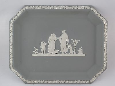 "Stunning Wedgwood Jasperware GRAY / GREY Neoclassical Tray 10.25"" X 8.25"" mint"