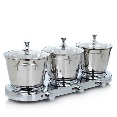 Infusion Collection 7-piece Stainless Triple-Burner Buffet Set with (3) 3qt New