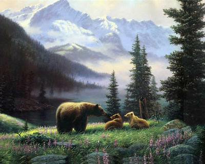 """Home Decor ,QUALITY Canvas Print, Oil Painting Bear with Cubs Summer,16""""x20"""""""