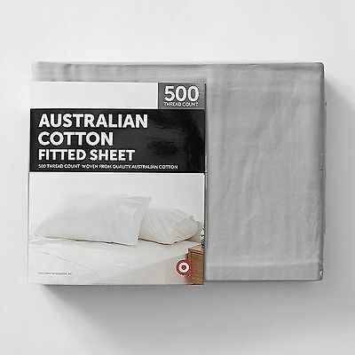 NEW Target 500 Thread Count Australian Cotton Fitted Sheet