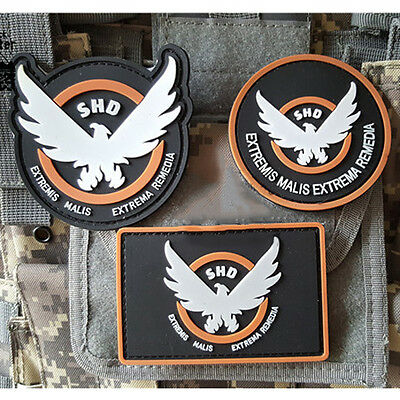 Game Patches Rubber The Division SHD Wings Out Badge Morale PVC Airsoft Patch