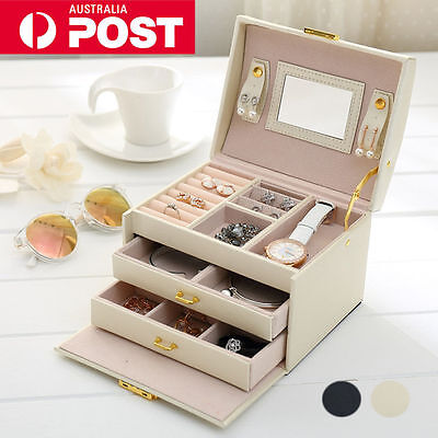 Jewellery Storage Box Watch Case Rings Necklaces Display Organizer Faux Leather