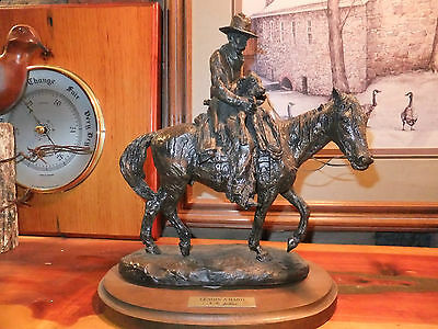 "Western Horse, Calf and Rider ""Lendin'  a Hand"" bronze cast....signed, MINT"