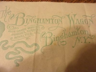 1892 Letter from Binghamton Wagon Co.  embossed