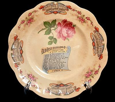 Chicago Merchant Calendar Plate Advertising 1910 Old Rose Distilling Co.
