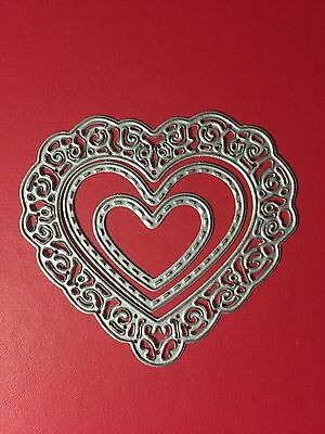 PRETTY• 3 HEARTS DIE SET - Lacey & Stitched Love Heart For Cuttlebug Or Sizzix