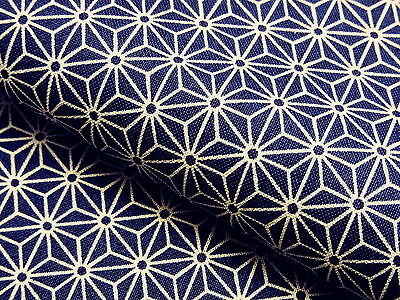 Japanese Fabric_Cotton_Navy,Asanoha_Half Yard,#m029