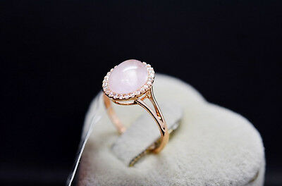 Valentine's Day Genuine Rose Gold Rose Quartz Engagement Eternity Ring size 7.5