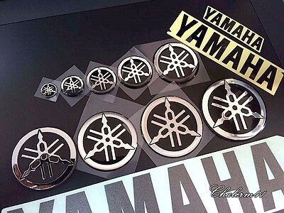 Yamaha genuine sticker black 12 55 mm text tuning fork logo emblem decal yz r