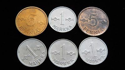 Six Assorted AU/UNC FINLAND Coins Lot C19