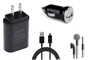 Car+2A Wall Adapter+5 Feet Micro Usb+Headset For Sprint Samsung Galaxy S7