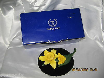 Napoleon Capodimonte Porcelain Flower~Yellow Daffodil with Stem~Box~Excellent
