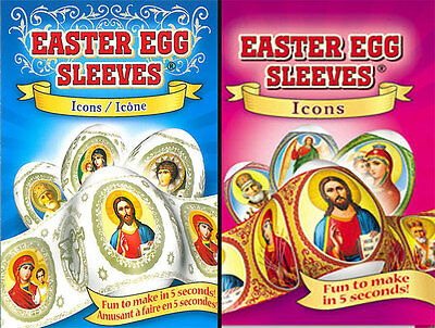 #63 2 packages Easter Egg Sleeves ICONS Pysanka Easter Stickers Shrink Wraps