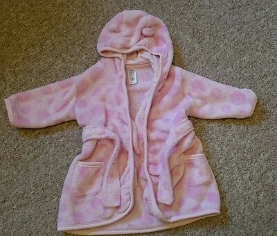Pink TU Dressing Gown 3-6 9 months Baby Girl hooded with cute ears, robe jacket