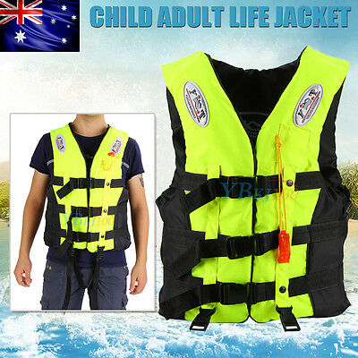 Swimming Life Jacket Vest Child Adult PFD Green Fully Enclosed Size S M XL XXL