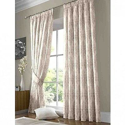 Luxury Printed Damask Curtains In Cream - Fully Lined Pencil Pleat - 90 x 90''