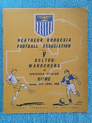 1959 - NORTHERN RHODESIA v BOLTON WANDERERS PROGRAMME - FRIENDLY