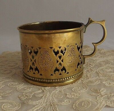 Brass Chamber Candle Holder with Pierced Sides