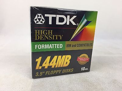 """TDK - 3.5"""" Floppy Disc - x 10 Pack -  1.44MB - New and Sealed -"""