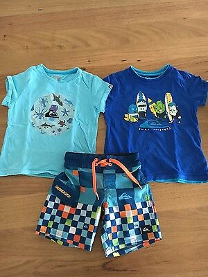 size 2 boys quicksilver tshirts and board shorts