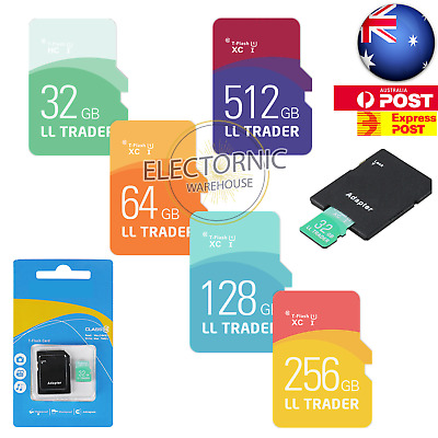 32/64/128/256/512GB Micro SD Memory Flash Card TF Adapter SDHC SDXC Class 10 AU