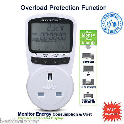 New Plug In Electricity LCD Power Meter Energy Monitor Power Consumption Test UK