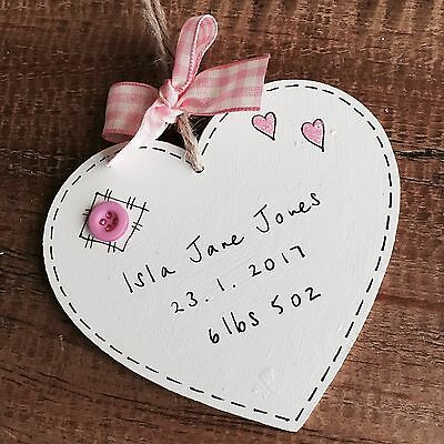 Personalised New Born Baby Girl Gift Keepsake Plaque Sign Birth Present