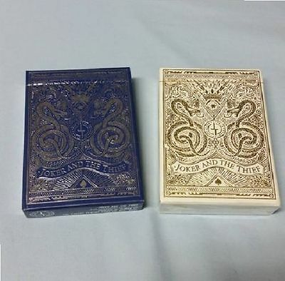 Blue Silver/White Gold 2 Deck Set Joker n The Thief Limited Custom Playing Cards