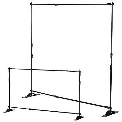 8' Telescopic Banner Stand Adjustable Backdrop Wall Exhibitor Expanding Display