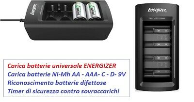 Caricabatterie universale AA/AAA/C/D/9V schermo LCD ENERGIZER Nuovo modello
