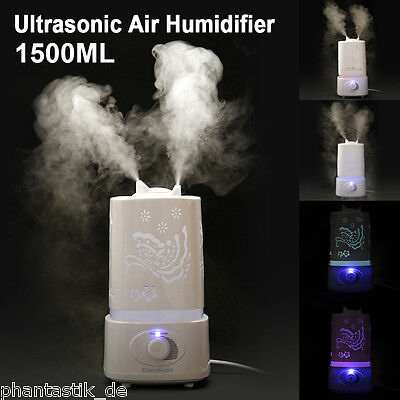 1.5L LED Ultrasonic Humidifier Essential Oil Diffuser Purifier Aroma Nebulizer
