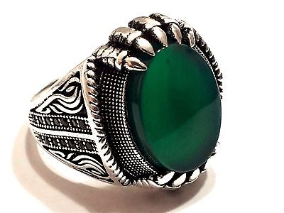 Claw Turkish Ottoman Green Agate Stone 925 Sterling Silver Mens Ring Gemstone 1