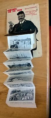 VINTAGE EARLY 1900s NOVELTY  SOUVENIR POSTCARD PULL OUT OF SOUTHSEA