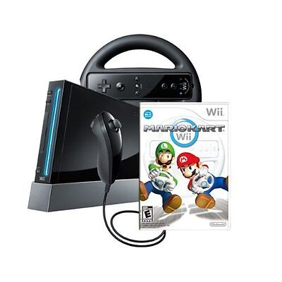 Wii Console With Mario Kart Wii Bundle Black Very Good 9Z