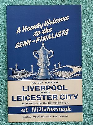 1963 - FA CUP SEMI FINAL PROGRAMME - LIVERPOOL v LEICESTER CITY - Very Good Cond
