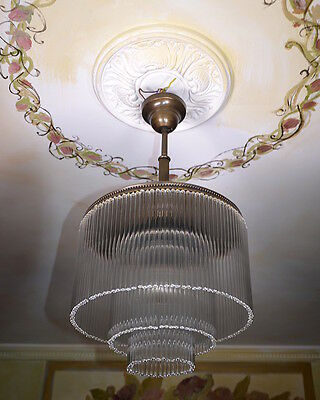 Art Deco Light Chandelier Glass Brass Ceiling Light Antique Vintage French Retro