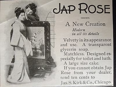 Antique Original1899 Print Ad (B10)~Jap Rose Glycerin Soap Chicago