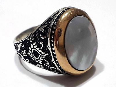 Unique Vintage Style Mother of Pearl Gemstone 925 K Sterling Silver Mens Ring
