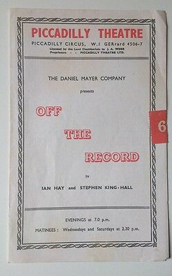 """Vintage Theatre Programme 1948 - """"off The Record""""/piccadilly Theatre London"""