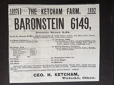 Antique 1892 Ad (1800-12)~The Ketcham Horse Farm. Toledo, Ohio.