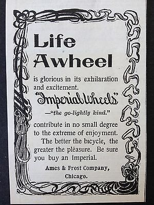 Antique 1896 Ad (1800-5)~Imperial Bicycles. Ames & Frost Co. Chicago