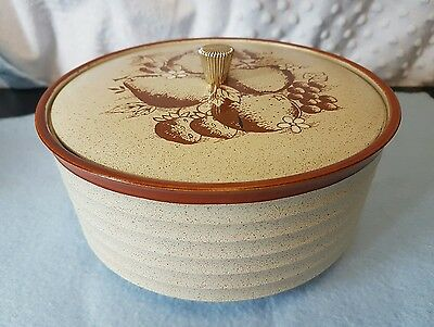 Vintage Japanese Melamine Lidded Deep Dish With Gold Knob.  Great Quality.