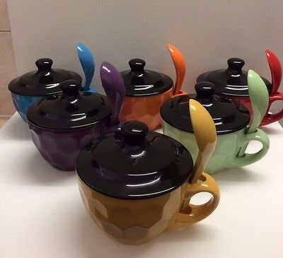 Ceramic Soup Bowl With Lid and Spoon - Choice of 6 Colours - Gift Boxed