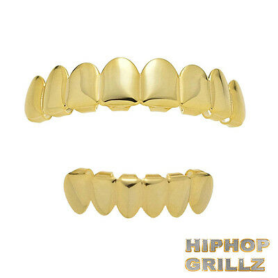 Grillz Set 8 Teeth Top 6 Bottom 14Kt Gold Plated Grills w/Molds Hip Hop Mouth
